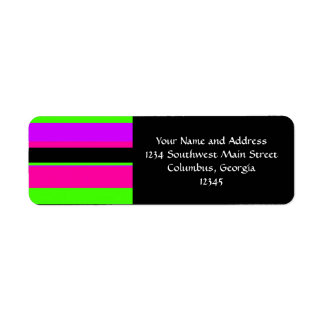 Hot Pink and Purple Tonal Stripes Modern Design Label