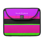 Hot Pink and Purple Tonal Stripes Modern Design Sleeves For MacBooks