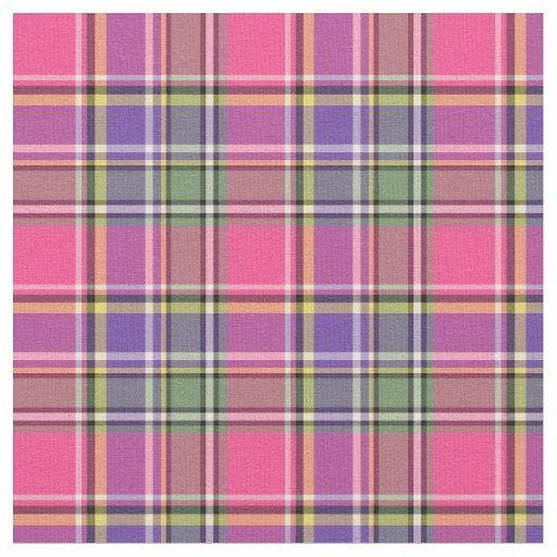 Hot Pink And Purple Vintage Plaid Fabric Zazzle Com