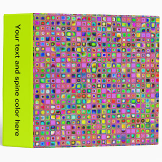 Hot Pink And Rainbow Colors Mosaic Tiles Pattern Binder
