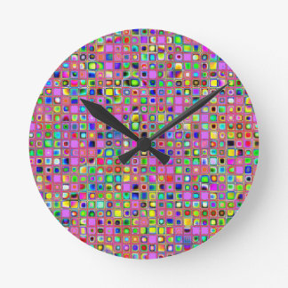 Hot Pink And Rainbow Colors Mosaic Tiles Pattern Round Clock