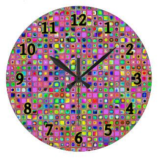 Hot Pink And Rainbow Colors Mosaic Tiles Pattern Wall Clock