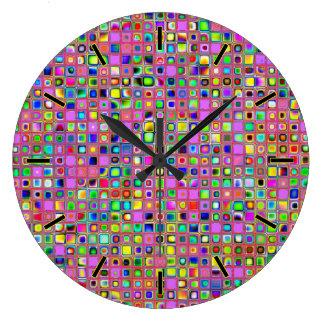 Hot Pink And Rainbow Colors Mosaic Tiles Pattern Wallclocks