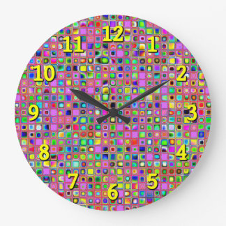 Hot Pink And Rainbow Colors Mosaic Tiles Pattern Clock