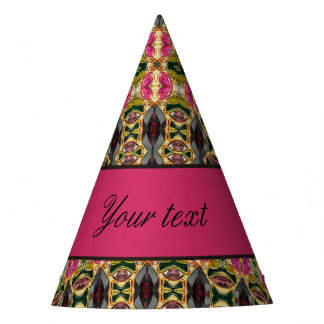Hot Pink and Red Jewels Party Hat