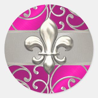 Hot Pink and Silver Filigree Swirls Fleur de Lis Classic Round Sticker