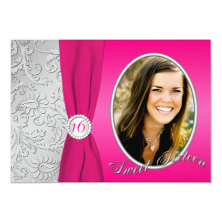 Hot Pink and Silver Photo Sweet Sixteen Invitation