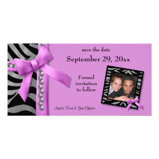 Hot Pink And Silver Zebra Gems Save The Date Card