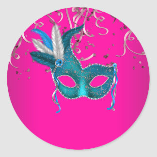 Hot Pink and Teal Blue Masquerade Classic Round Sticker
