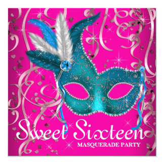 Hot Pink and Teal Blue Sweet Sixteen Party Card