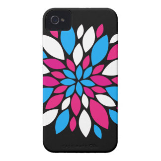 Hot Pink and Teal Flower Petals Art on Black Case-Mate iPhone 4 Case