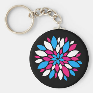 Hot Pink and Teal Flower Petals Art on Black Key Chains