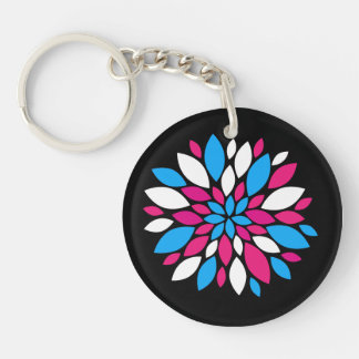 Hot Pink and Teal Flower Petals Art on Black Key Chain