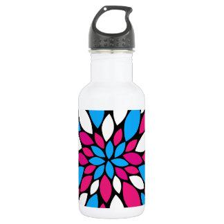 Hot Pink and Teal Flower Petals Art on Black 18oz Water Bottle