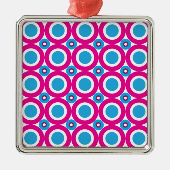 Hot Pink and Teal Polka Dots Pattern Metal Ornament