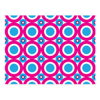Hot Pink and Teal Polka Dots Pattern Postcard