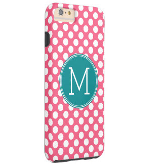 Hot Pink and Teal Polka Dots with Custom Monogram Tough iPhone 6 Plus Case