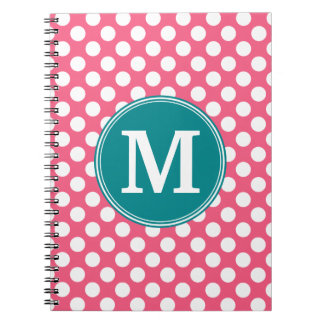 Hot Pink and Teal Polka Dots with Custom Monogram Notebook