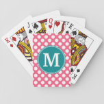 """Hot Pink and Teal Polka Dots with Custom Monogram Playing Cards<br><div class=""""desc"""">A vibrant and bright pattern with a classic single monogram. Cute and girly,  this retro design is perfect for any woman.</div>"""