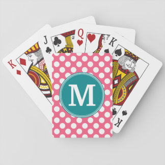 Hot Pink and Teal Polka Dots with Custom Monogram Playing Cards