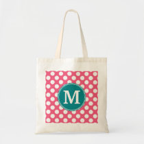 Hot Pink and Teal Polka Dots with Custom Monogram Tote Bag