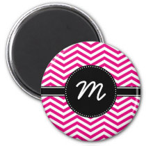 Hot Pink and Tiny White Chevron Monogram Magnet