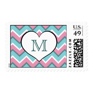 hot pink and torquoise blue zigzag monogram postage stamp