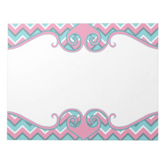 hot pink and torquoise blue zigzag pattern notepad