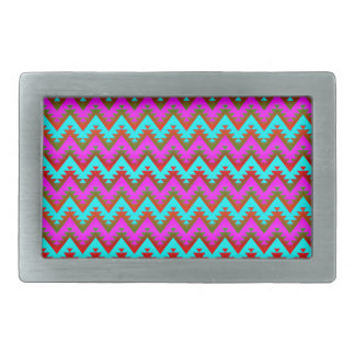 Hot Pink and Turquoise Aztec Chevron Stripes Belt Buckle