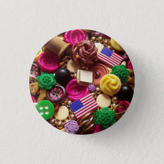 Hot Pink and Vintage Green Buttons