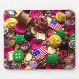 Hot Pink and Vintage Green Buttons Mouse Pad