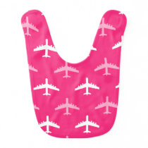 Hot Pink and White Airplanes Bib