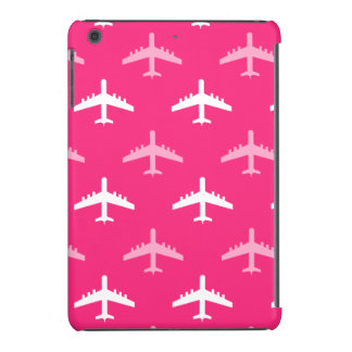 Hot Pink and White Airplanes iPad Mini Covers
