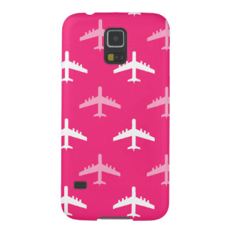 Hot Pink and White Airplanes Galaxy S5 Covers