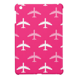 Hot Pink and White Airplanes iPad Mini Case