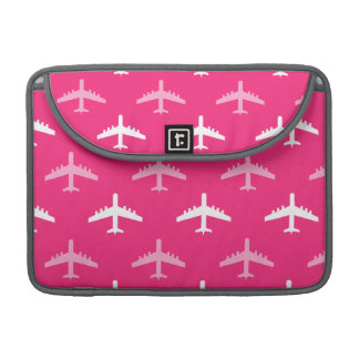 Hot Pink and White Airplanes MacBook Pro Sleeves