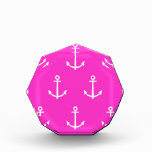 Hot Pink and White Anchors Pattern 1 Acrylic Award