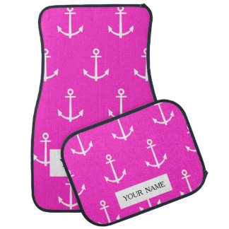 Hot Pink and White Anchors Pattern 1 Car Mat