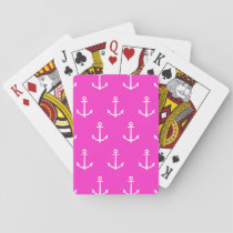 Hot Pink and White Anchors Pattern 1 Playing Cards