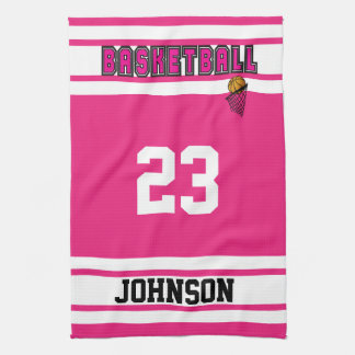 Hot Pink and White Basketball Kitchen Towel