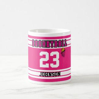 Hot Pink and White Basketball Sport Jersey Coffee Mug