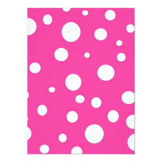 Hot Pink and White Bubbles Polka Dots Fun 5.5x7.5 Paper Invitation Card
