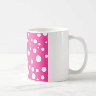 Hot Pink and White Bubbles Polka Dots Fun Coffee Mug