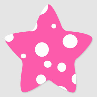 Hot Pink and White Bubbles Polka Dots Fun Star Sticker