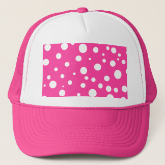 Hot Pink and White Bubbles Polka Dots Fun Trucker Hat