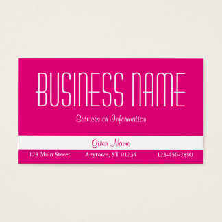 Hot Pink and White Business Card