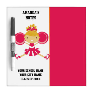 Hot Pink and White Cheerleader Dry Erase Board