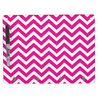 Hot Pink and White Chevron Pattern Dry Erase Board With Keychain Holder