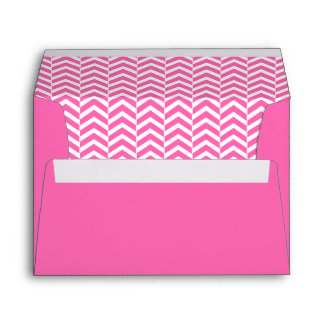 Hot Pink and White Chevron Pattern Envelope
