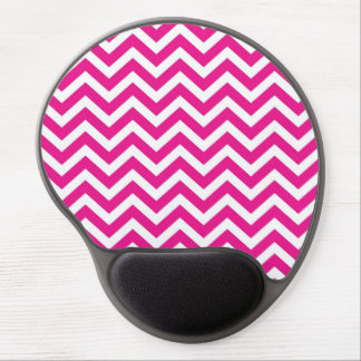 Hot Pink and White Chevron Pattern Gel Mousepads